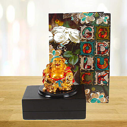 Card and Laughing Buddha for Good Luck:Buddha Gifts
