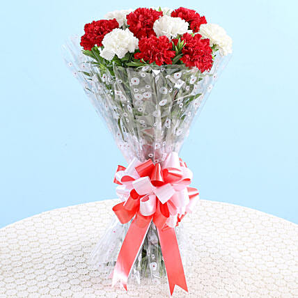 Bunch Of 10 Red White Carnations