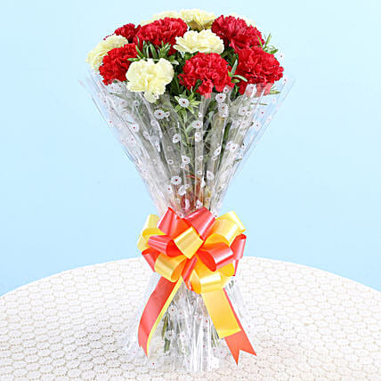 Bunch Of 12 Red Yellow Carnations