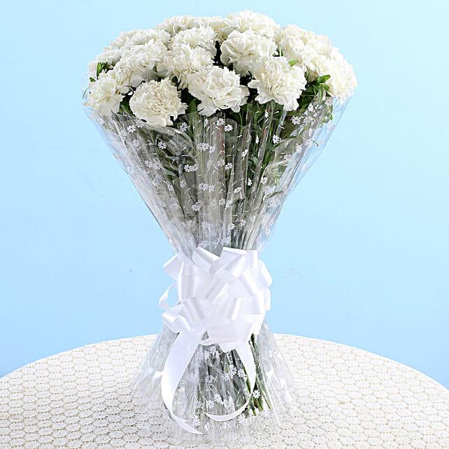 Mesmerizing 18 White Carnations Bouquet