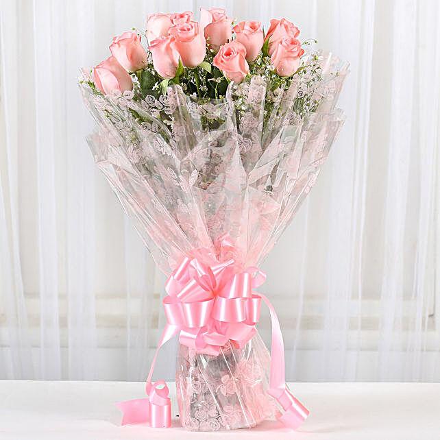 12 Splendid Pink Roses Bouquet