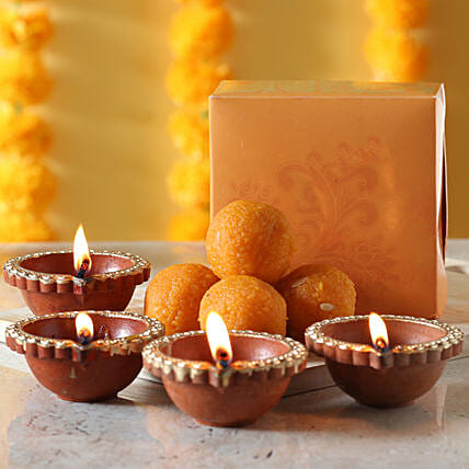Sweets with diyas