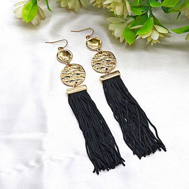 Coin & Black Tassel Earrings