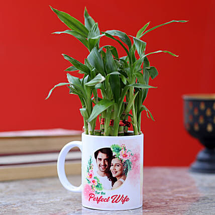 Personalised Two Layer Bamboo Plant For Wife
