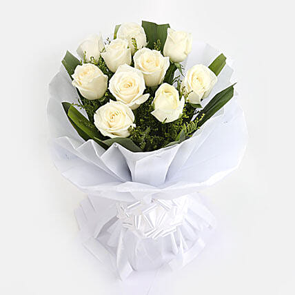 White Roses Bunch - Bunch of 10 White Roses.