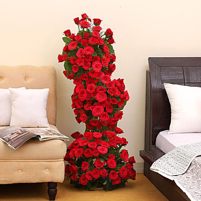 Breath Taking Roses - 3-4 ft high arrangement of 100 red roses.