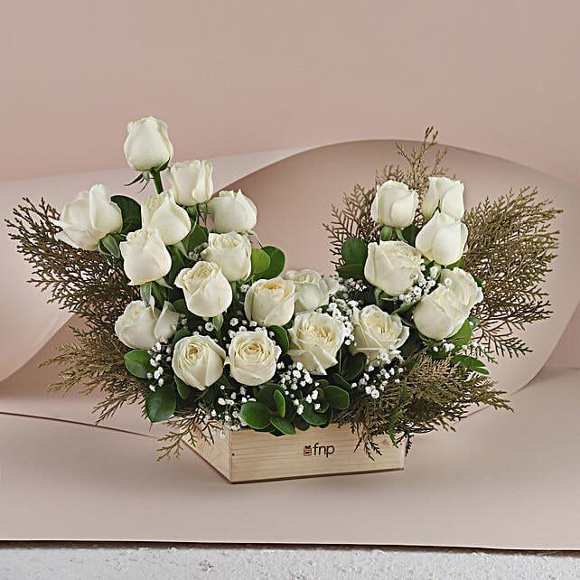 White Roses - Bunch of 20 Long Stem fresh White roses in a glass Vase.