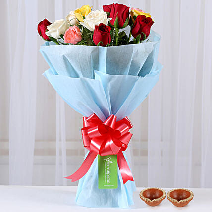 Online Mixed Flower with Diya for Diwali