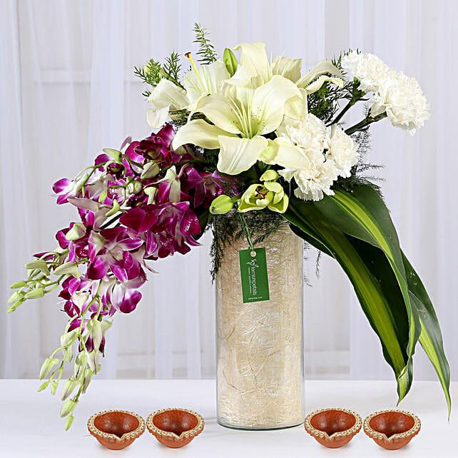 Flower Vase and Diya for Diwali