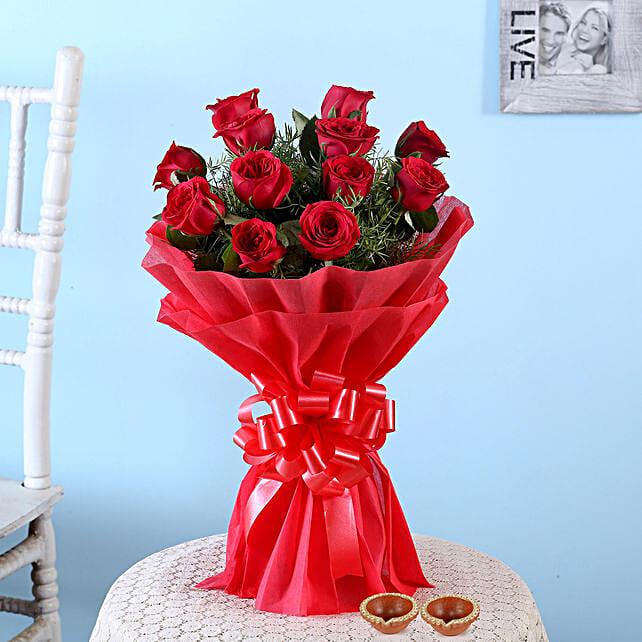 Flower Bouquet with Diya for Boyfriend