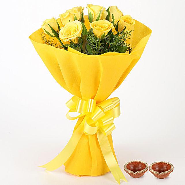 Diwali Flowers with Diyas Online:Send Flowers to Rajahmundry