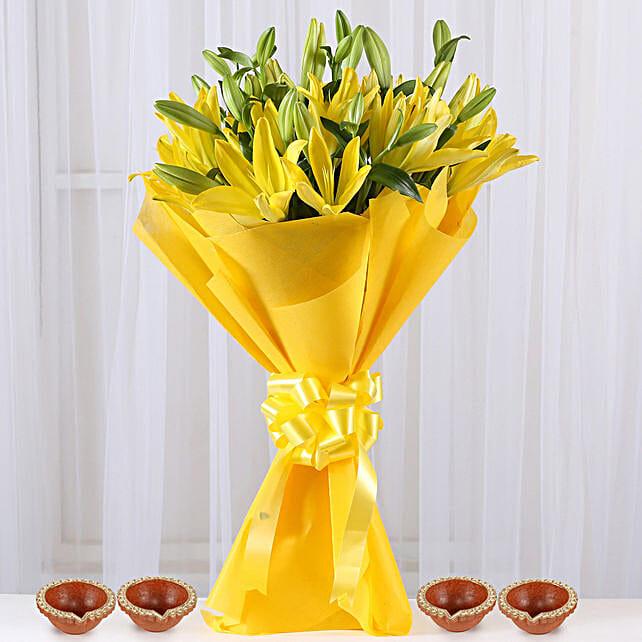 Flower Bouquet with Diya Online for Diwali