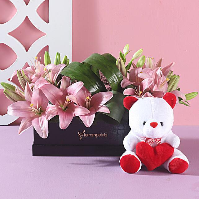 Pink Asitic Lilies & Teddy Bear