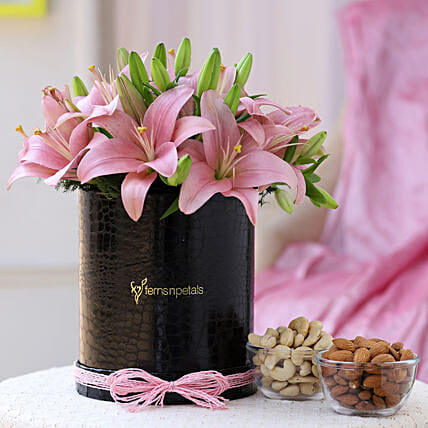 Pink Asiatic Lilies & Dry Fruits