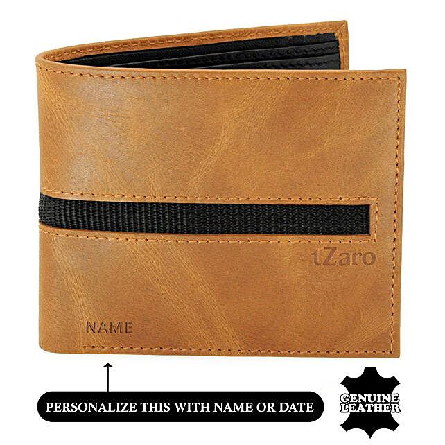 Men Bi Fold Tan Black Leather Wallet
