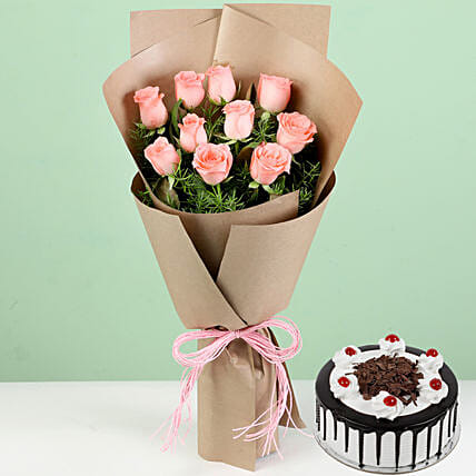 10 Pink Roses With Black Forest Cake