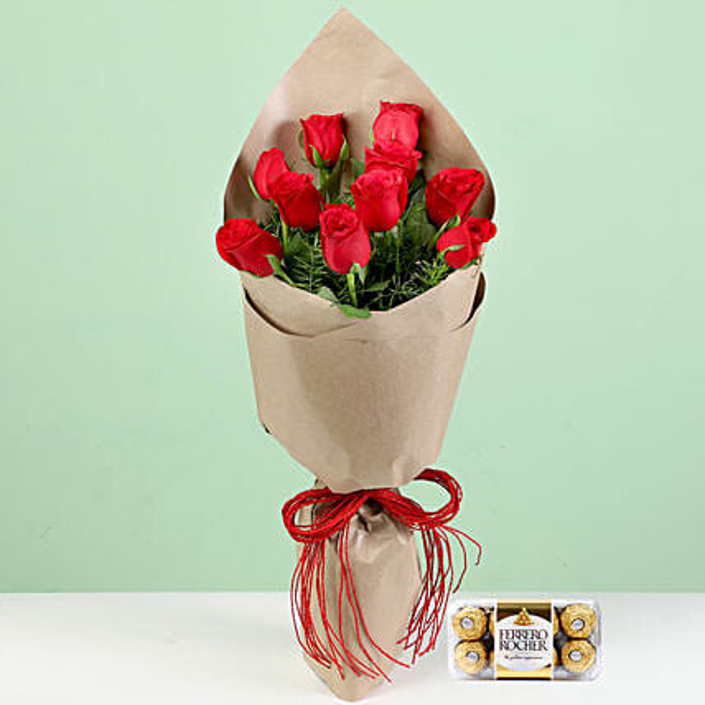 10 Red Roses Bouquet Ferrero Rocher