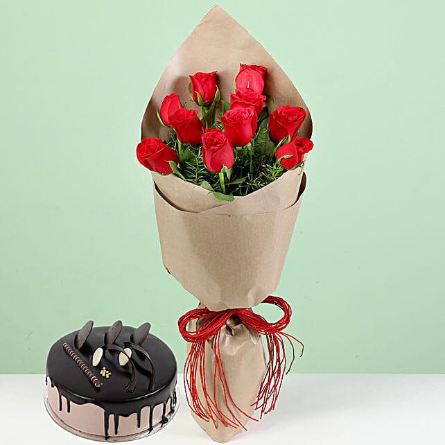 Bouquet Of Red Roses Chocolate Cream Cake