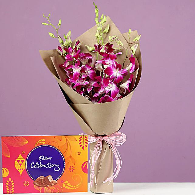 Purple Orchids Bouquet Cadbury Celebrations