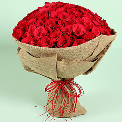 Idyllic 100 Red Roses Bouquet