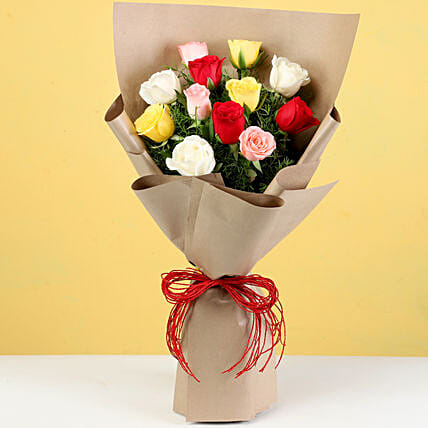 Bouquet of 10 Mixed Roses In Brown Paper