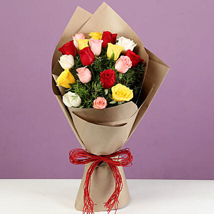 Bouquet of 18 Mixed Roses In Brown Paper