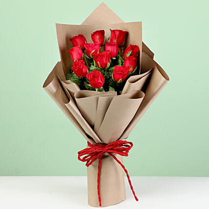 Majestic 12 Red Roses in Brown Paper