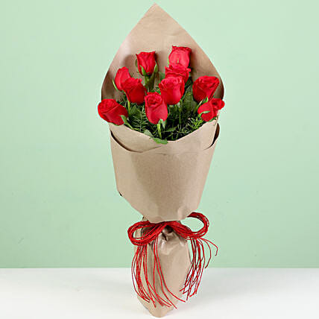 Mesmerising Red Roses In Brown Paper