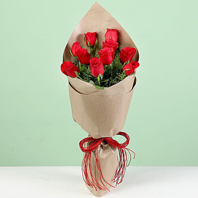 Ravishing 30 Red Roses In Brown Paper
