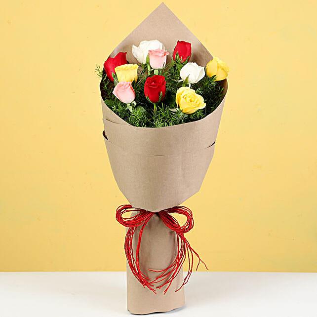 Vibrant 10 Mixed Roses Bouquet
