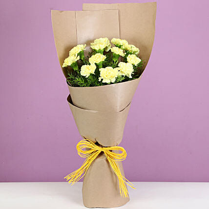 12 Canary Yellow Carnations Bouquet