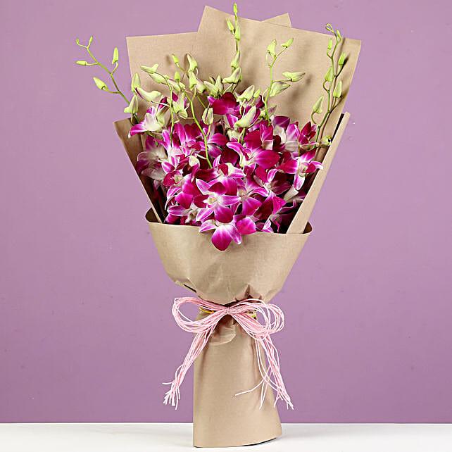 online orchids bunch bouquet:Purple Flowers
