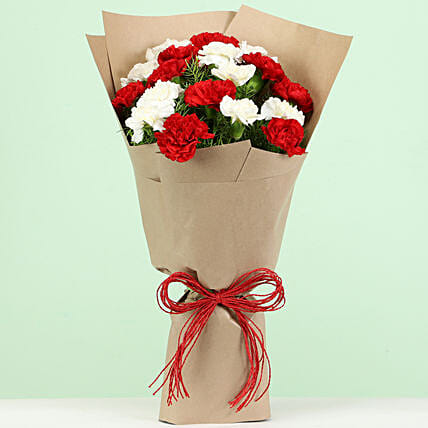 Lovely Red White Carnations Bouquet