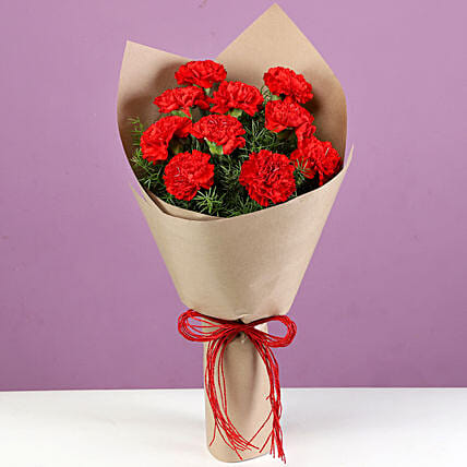 10 Bright Red Carnations Bouquet