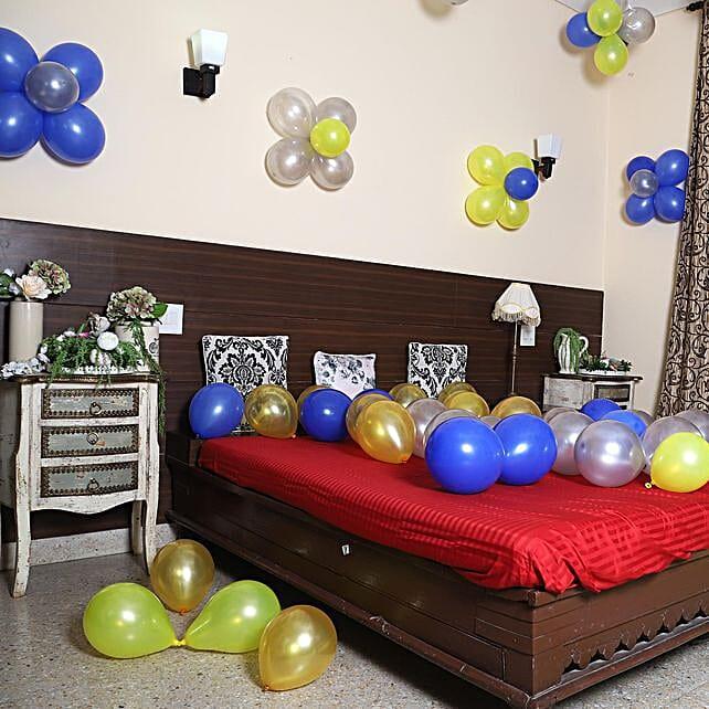 Colourful Balloons Decor Silver Blue Yellow