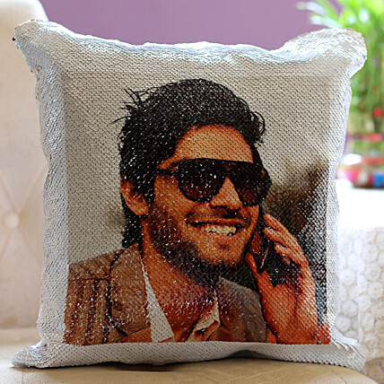 Sequin Photo Cushion for Him
