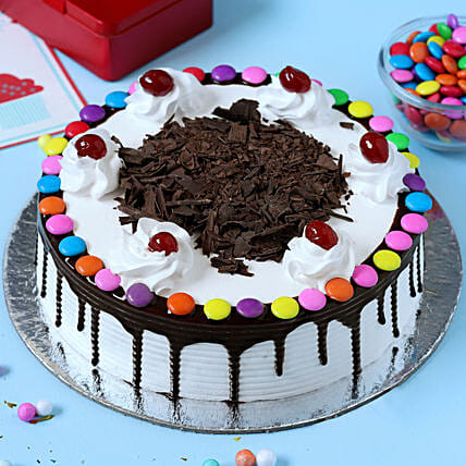 Astonishing Gems On Top Black Forest Cake Half Kg Gift Forest Cakes Online Funny Birthday Cards Online Inifodamsfinfo