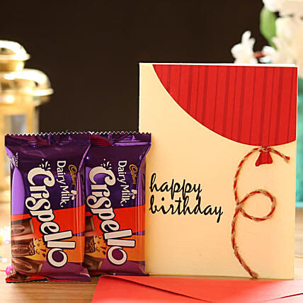 Chocolate with Birthday Card Online:Buy Greeting Cards