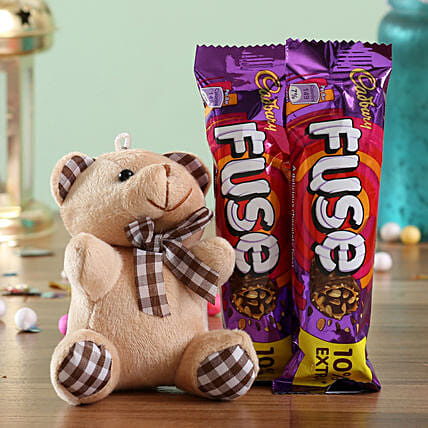 Teddy and Chocolate Bar Combo for Her:Send Thank You Soft toys