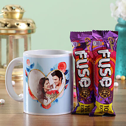 Photo Mug and Chocolate Bar Combo for Couple:Personalised Gifts Combos