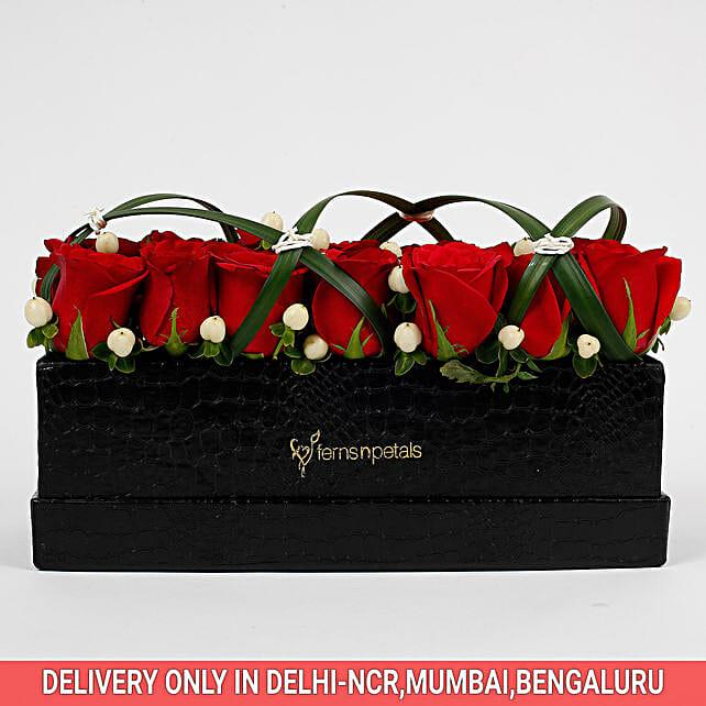 21 Premium Enticing Red Roses in Black FNP Box