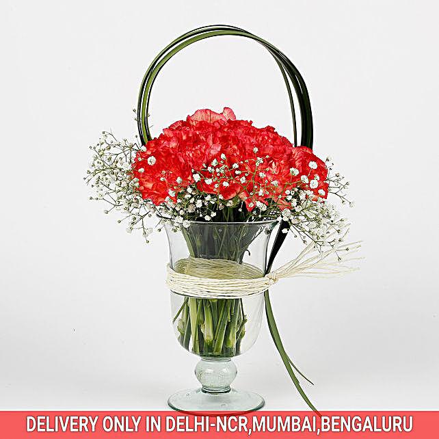 30 Orange Carnations Glass Vase Arrangement
