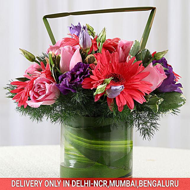 Pink Roses Amp Gerberas Flower Arrangement Gift Online Floral Arrangement Ferns N Petals
