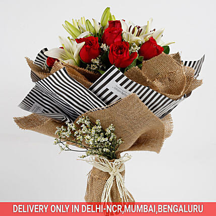 Premium Red Roses Asiatic Lilies Bouquet Gift Online Flower Bouquet Ferns N Petals