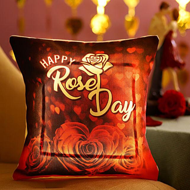 Rose Day Wishes LED Cushion