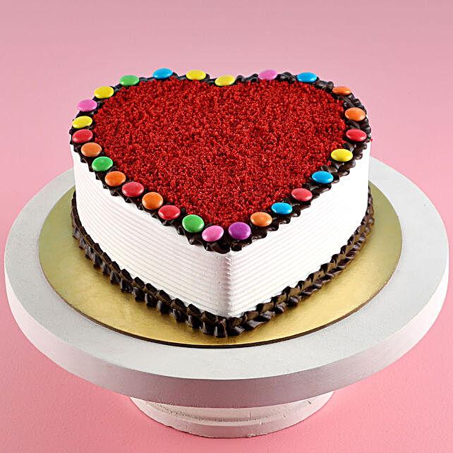 Hearty Red Velvet Gems Cake Half Kg