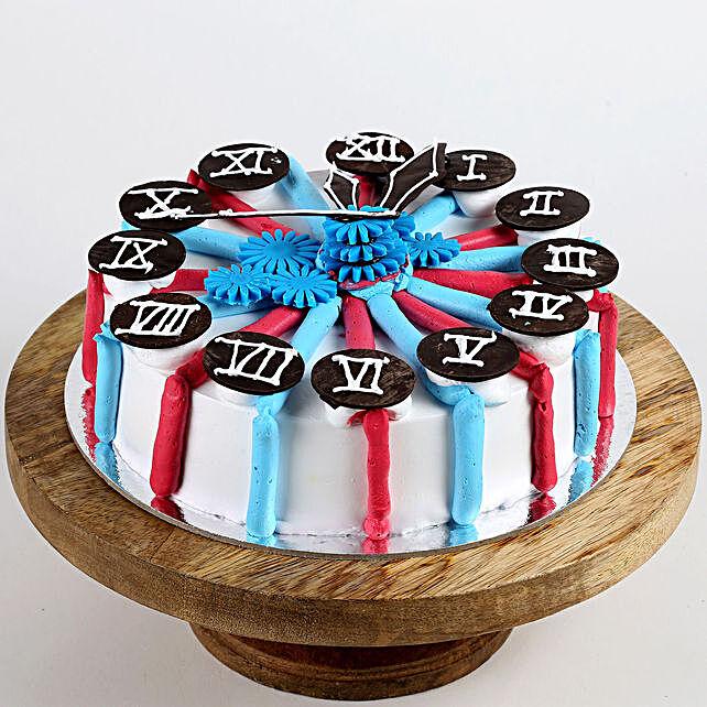 Red & Blue Clock Vanilla Cake- 2 Kg