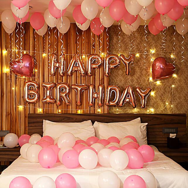 Rose Gold Birthday Theme Balloon Decor with LED