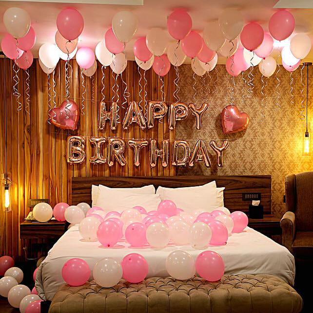 Rose Gold Birthday Theme Balloon Decor without LED