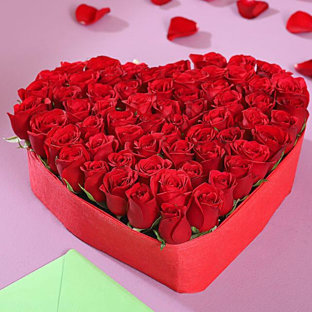 Beautiful Heart Shaped Roses Arrangement